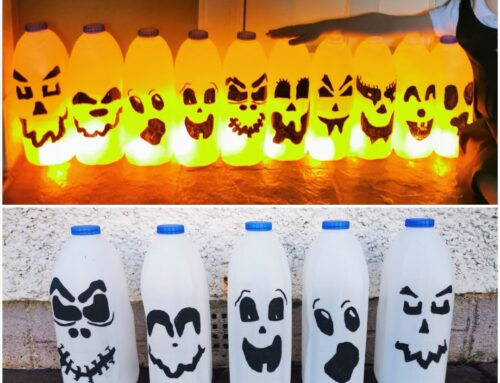Milk bottle Halloween ghosts