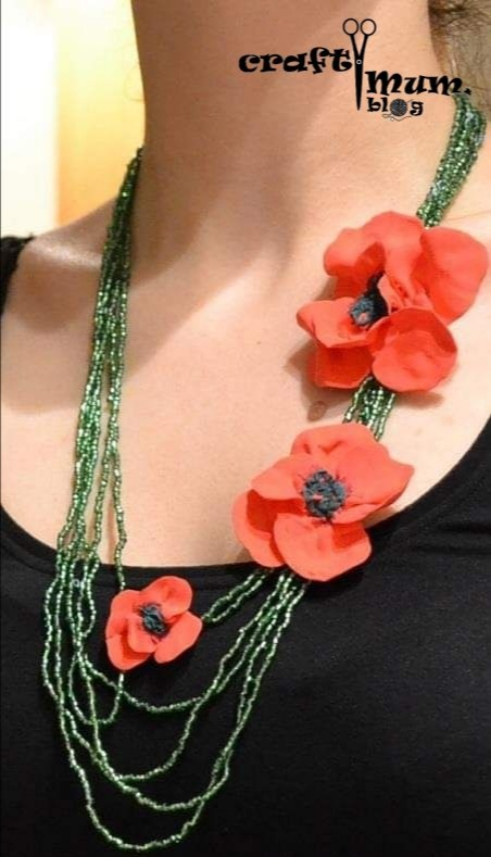 Foam clay poppies necklace