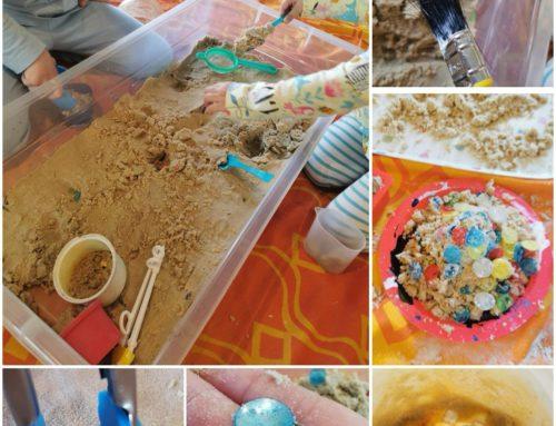 Treasure digging in sand